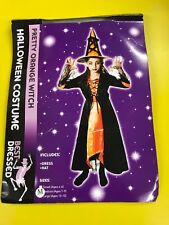 Halloween Girls Pretty Orange Witch Fancy Dress Costume - Age 7 - 9