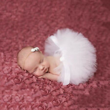 Newborn Baby Girls Boutique Photoshoot Prop Outfit Set Tutu Skirt & Headband HOT