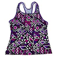 Speedo Girl's Size 16 Racerback Tankini Swim Top Bathing Suit Pink Purple Aztec