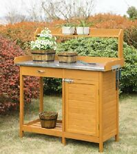 Garden Potting Bench Storage Cabinet Work Table Patio Outdoor Green House Porch