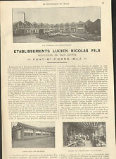 27 PONT-SAINT-PIERRE ETS LUCIEN NICOLAS BOUCLERIE PUBLI-REPORTAGE 1924