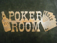 Rusted Metal Poker Room Sign, Bar, Cards, Mancave