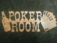 FREE SHIPPING Rusted Metal Poker Room Sign Wall Hanging