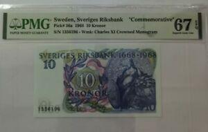 """1968 SWEDEN 10 Kronor """" COMMEMORATIVE"""" PMG67 EPQ SUPERB GEM UNC [P-56a]"""