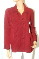 *NWT* Notations Women  Blouse Bottom Down Striped  Long Sleeve Collared Sz Med