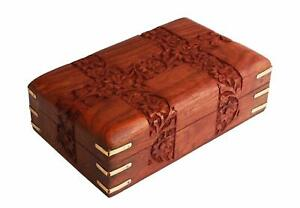 Hand Carved Wooden Decorative Trinket Jewellery Box With Floral Carvings & Brass