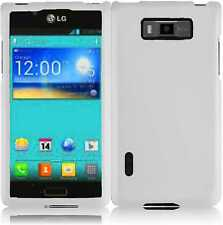 For LG Optimus Showtime L86c Rubberized HARD Case Phone Cover Rubber White