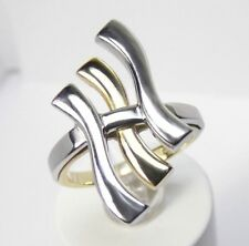Unique 14K Yellow & White Gold Ring size 7.5 ITALY