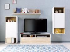 rangement mural blanc/chêne meuble salon Armoire de étagère