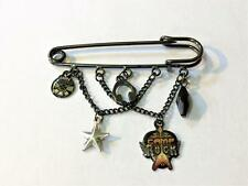 Disney Camp Rock Safety Pin Style Brooch Pin w/ Charm Dangles