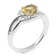 Sterling Silver Oval Yellow Citrine & White Round Sapphire Gemstone Halo Ring
