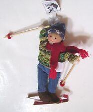6 INCH SKIING BOY IN REAL CLOTHES CHRISTMAS DECORATION  CHILD BOY TREE