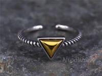 Silberring Dreieck Vintage Golden Schlicht Schmal Ring Silber 925 Verstellbar