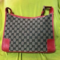 Auth Gucci Shoulder Bag Tote GG Canvas Monogram USED Red Women Purse G0323