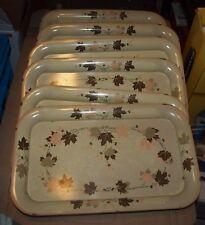 "Vintage Oak Leaf Tin Metal Serving Trays - Set of Six -  9"" x 14"""