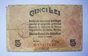Romania - 5 LEI (1917),GERMAN OCCUPATION WWI,with STAMP!SCARCE!