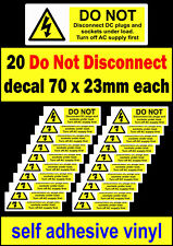 20 PV Do Not Disconnect DC stickers Solar Warning Label decal high Voltage