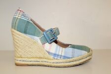 Tommy Hilfiger Womens Wedge High Heel Mary Jane Shoe 6 M Plad Fabric Espadrilles