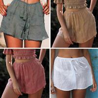 Women Summer Hot Pants Loose Shorts Drawstring Beach High Waist Short Trousers