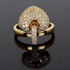 14K Gold Heart made w Swarovski Crystal Stone Dangle Charm Heart Ring Adjustable