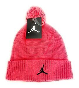 NIKE MJ Air Jordan Pom Knit Beanie Hat Hot Lava Pink Youth Boys Girls Size 8/20
