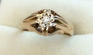 Fabulous Quality Fully Hallmarked Vintage Solid 9Ct Gold Diamond Solitaire Ring