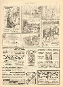 1894  ANTIQUE PRINT -ADVERT- ELLIMANS, BASEBALL, AFRICA, HORSES, CYCLING, ROWING