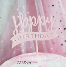 HAPPY BIRTHDAY CAKE PICK TOPPER DECORATION Pink Acrylic