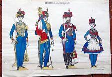 GRAVURE AU POCHOIR  DE PELLERIN l'artillerie de la garde impériale de II empire