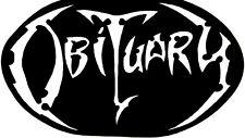 Obituary rare 4 x 7 inch Jumbo Vinyl Die-Cut Screen-Printed Sticker, Death Metal