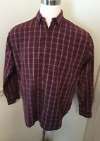 Ralph Lauren Polo Men's Large L Marlowe Long Sleeve Shirt L/S Burgundy Tartan Sq