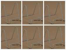 """(6) 3""""  Plate Stand Display Easel CHROME SILVER TWISTED WIRE Tripar 23-1233 SIX"""
