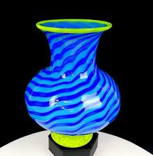 """CHATHAM GLASS CO. SIGNED TURQUOISE BLUE STRIPED YELLOW MOTTLED 8 1/2"""" VASE 1998"""