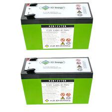 2pc K2 Energy 12V 7Ah LiFEPO4 Battery for Golf Carts, Backup Systems, Solar
