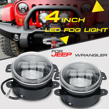 """PAIR 60W 4"""" CREE LED Fog Light Bulb Round Driving Lamps DRL Front Bumper Tractor"""