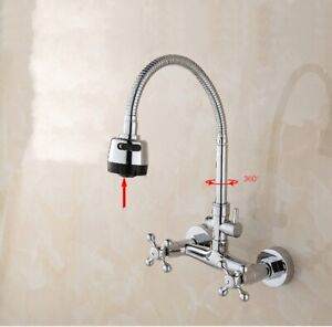Wall Mounted Swivel Spout Kitchen Dishwasher Laundry Faucet Tap Random Direction