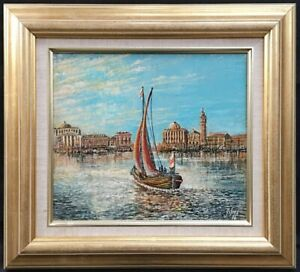 20th Century English School Oil on Board Painting Of Venice. Signed.