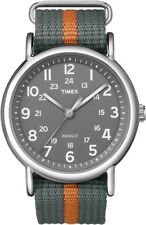 T2N649 Timex Weekender SlipThru Womens Mens Watch Gray w/ Orange Stripe T2N6499J