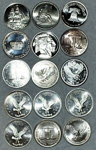 Lot of 15x 1 Troy Ounce, .999 Fine Silver Rounds, great variety of designs.