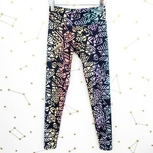 Onzie Leggings Size XS Rainbow Tribal Geometric Print High Rise Workout Colorful