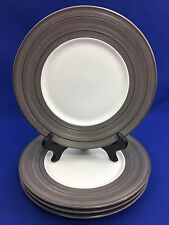 Vera Wang DEVOTION by Wedgwood SALAD PLATES with Textured Platinum Rim SET OF 4