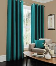 Luxury Faux Silk Curtain Ready Made Eyelet Top Fully Lined With Two Tie Backs GC