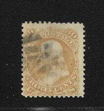 US 1868 30 Cent Franklin Scott 100 Fine Condition with F Grill Great Condition!|