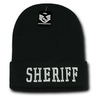 Black & Silver Sheriff Embroidered Police Beanie Skull Winter Knit Ski Cap Hat