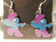 Purple & Blue Enamel Smurf Drop Style Hook Fashion Earrings - Jewelry