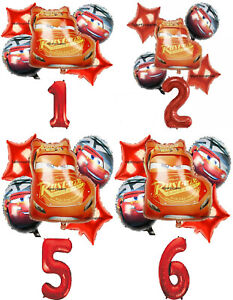 DISNEY CARS LIGHTENING McQUEEN Number Foil Balloons Sets for Birthday Party