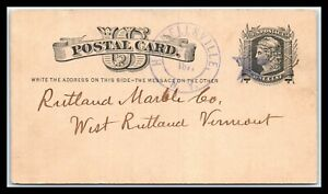 1877 US Postal Card - Hornellsville,NY to Vermont, Fancy Cancel Purple Star D20