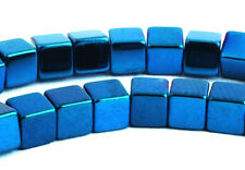 STRAND HEMATITE CUBE BEADS, 4 MM, TURQUOISE / ELECTRIC BLUE, GEMSTONE