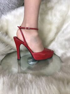 Casadei  italian ostrich leather peep toe shoes ,heels. Red colour. Size 6,5