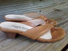 TARYN ROSE Gathered brown Leather flip flop  Slide Sandals Women's 37.5 N-US 7.5